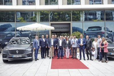 Enthusiastic visitors at the Stuttgart brand center of Borgward Group AG.