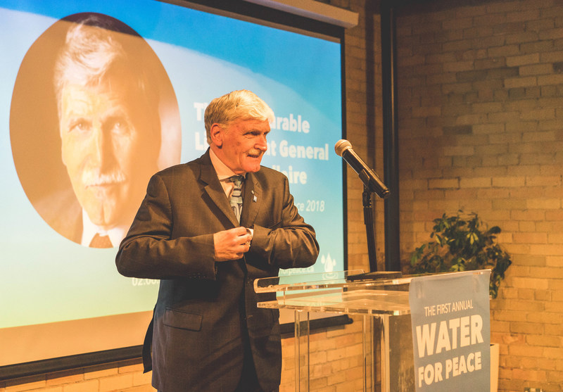 General Roméo Dallaire addresses guests at the first annual Water for Peace event on June 2nd. (CNW Group/The Rainmaker Enterprise)