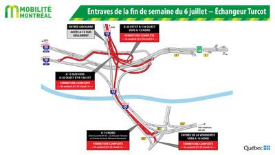 Entraves de la fin de semaine du 6 juillet - Échangeur Turcot (Groupe CNW/Ministère des Transports, de la Mobilité durable et de l