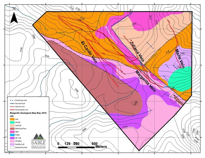 Margarita Geological Map (CNW Group/Sable Resources Ltd.)