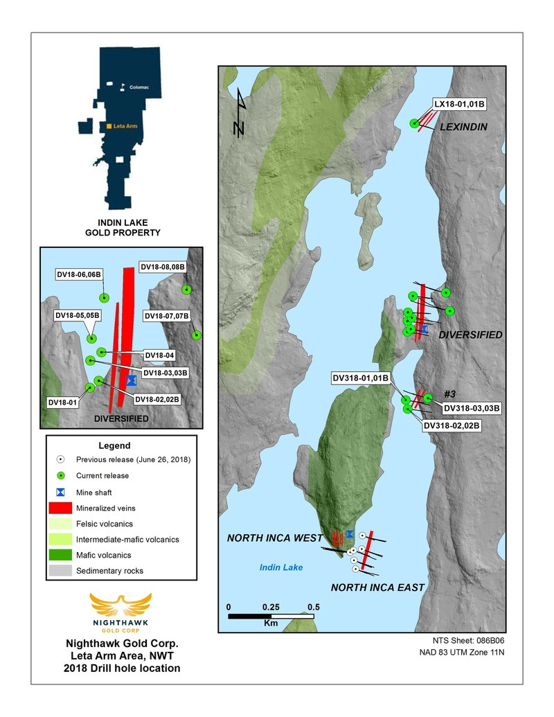 Figure 1.  Leta Arm Project and Drillhole Location Map (CNW Group/Nighthawk Gold Corp.)