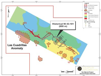 Figure 03 - Location Historical NI 43-101 Resource Area and Exploration Targets (CNW Group/Goldplay Exploration Ltd)