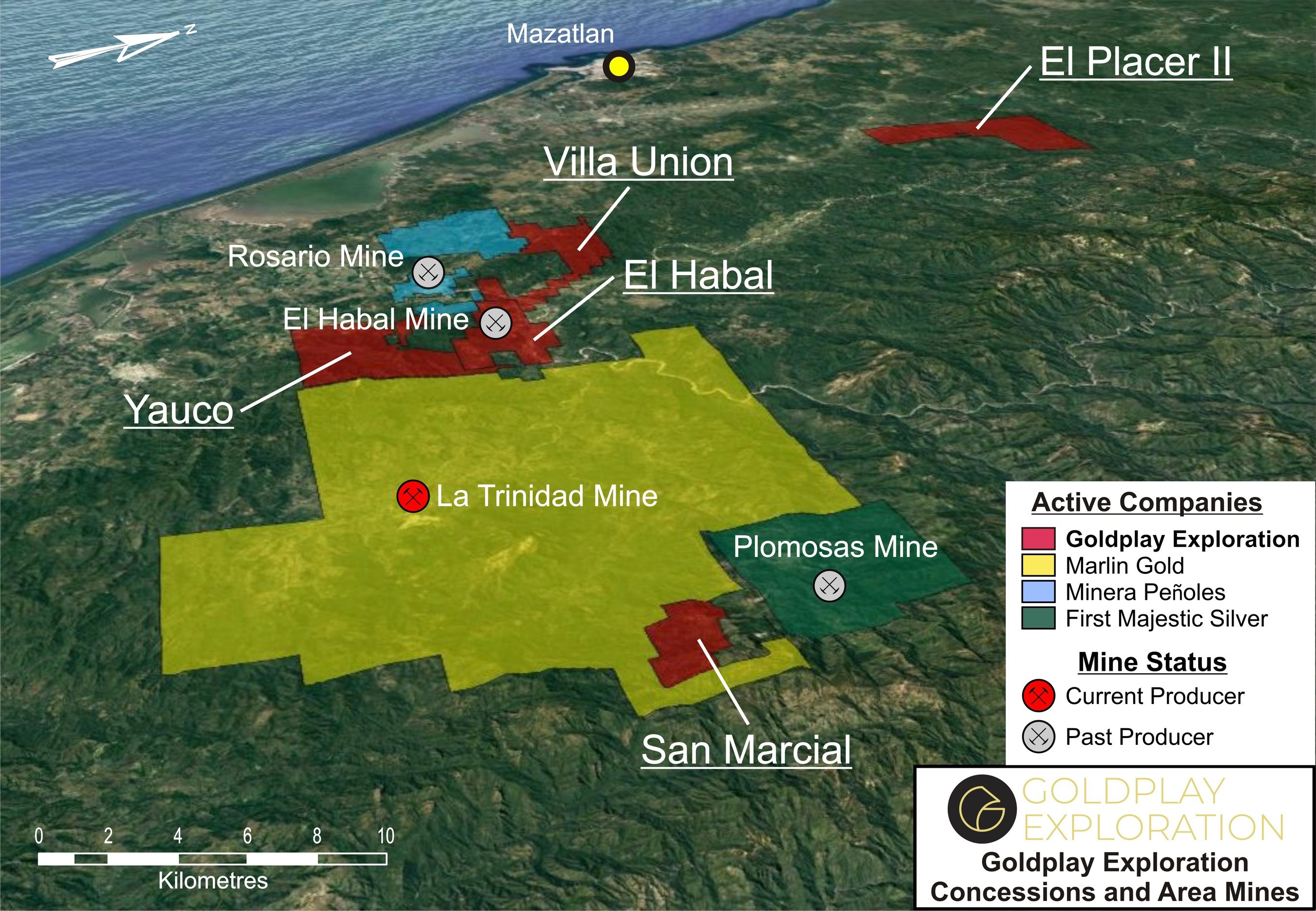 Figure 02- Location map showing San Marcial Project and Goldplay Exploration Portfolio (CNW Group/Goldplay Exploration Ltd)