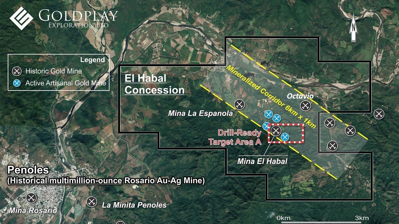 Figure 01- El Habal Concession map showing Target Area A, Mina La Espanola and Mineralized Corridor. (CNW Group/Goldplay Exploration Ltd)