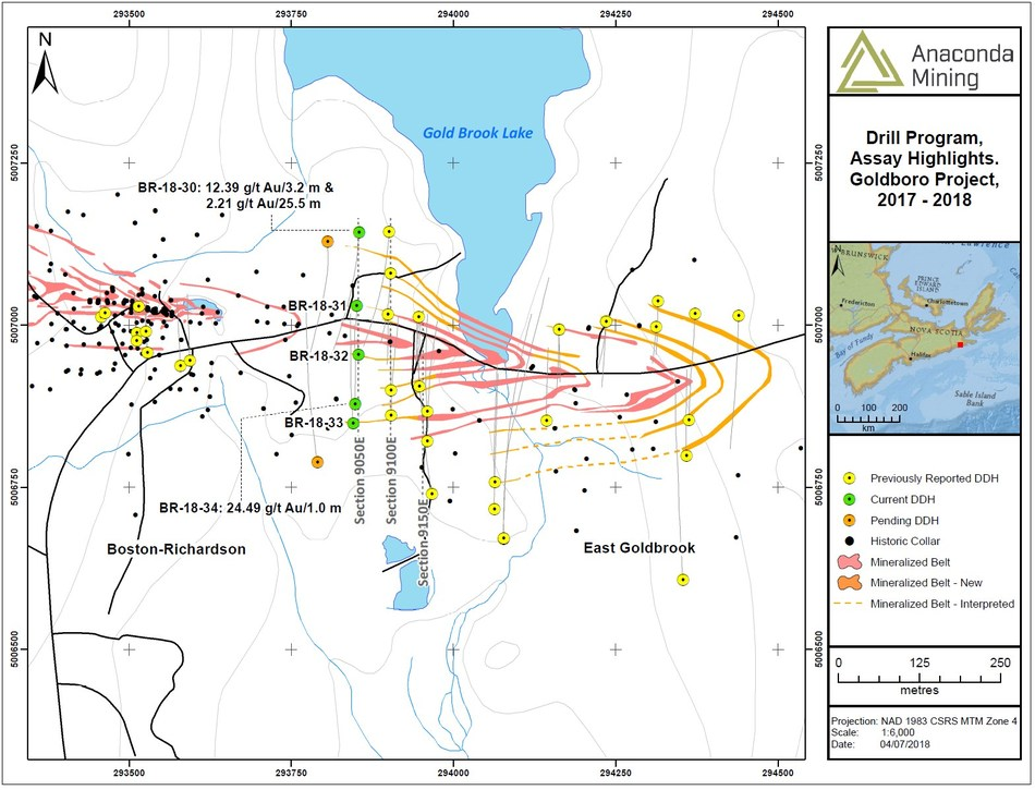 Exhibit A. A map showing the location of section 9050E, 9100E and 9150E as well as associated drill collars and select assay highlights from recent drilling. (CNW Group/Anaconda Mining Inc.)