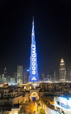 World's highest Football Live Scoreboard on Emaar's Burj Khalifa in Dubai