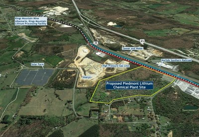 Figure 2:  Piedmont Proposed Lithium Chemical Plant Conveniently Located to Major Infrastructure