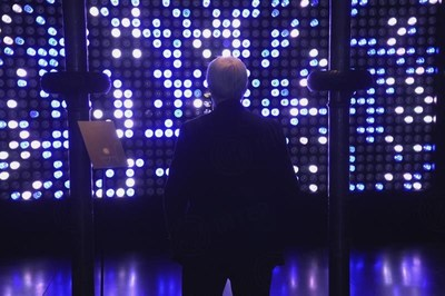 "Suning's Emotional Wall at Milan Design Week which is based on Suning ""BIU"" interactive artificial intelligence system allows users to be immersed into a futuristic home-life experience"
