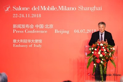 Marco Sabetta, General Manager of Salone del Mobile.Milano, introducing the strategic cooperation with Suning.