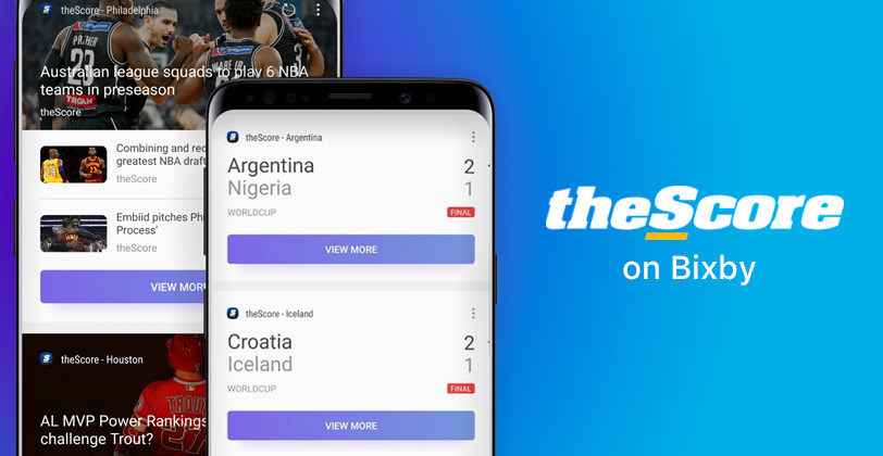 theScore on Bixby provides sports scores and news. (CNW Group/theScore, Inc.)