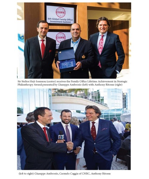Photo #1 - Sir Stelios Haji-Ioannou (center) receives the Family Office Lifetime Achievement in Strategic Philanthropy Award presented by Giuseppe Ambrosio (left) with Anthony Ritossa (right)   Photo #2 - (left to right) Giuseppe Ambrosio, Carmelo Caggia of CNBC, Anthony Ritossa (PRNewsfoto/Ritossa Family Office)
