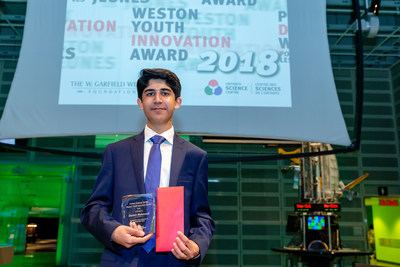 Fifteen-year-old Danish Mahmood received the 2018 Weston Youth Innovation Award today at the Ontario Science Centre for his Wireless Interconnected Non-Invasive Triage System (WINITS) device. Established in 2008, the Award encourages and recognizes young Canadian innovators. (CNW Group/Ontario Science Centre)