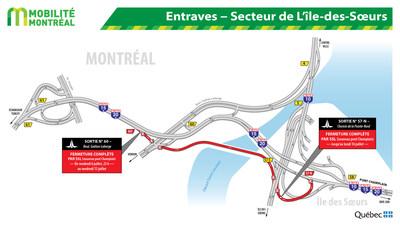Entraves − Secteur de L'île-des-Sœurs (Groupe CNW/Ministère des Transports, de la Mobilité durable et de l'Électrification des transports)