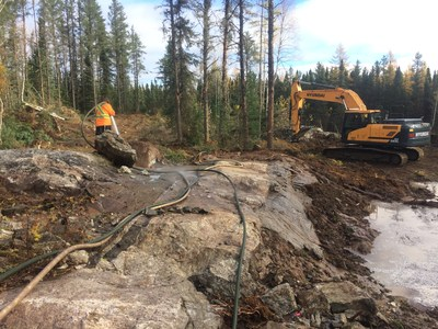 Recent trenching program contributed to upgraded resource estimate. (CNW Group/Rock Tech Lithium Inc.)