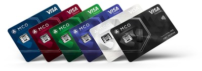 (From left to right) Midnight Blue (Classic plastic card), Ruby Steel, Jade Green, Royal Indigo, Icy White (Platinum metal cards), and Obsidian Black (Limited edition platinum metal card) (PRNewsfoto/CRYPTO.com)