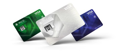 New Visa Platinum Cards unveiled by MCO. (From left to right: Jade Green, Icy White, Royal Indigo) (PRNewsfoto/CRYPTO.com)