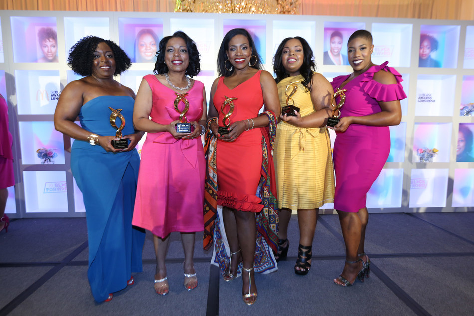 Kimberly Bryant, founder and CEO of Black Girls CODE; McDonald's Owner / Operator, Monique Vann-Brown; Actress and activist, Sheryl Lee Ralph; HBCU Forward Scholarship award recipient, Tishauna Wilson; Symone Sanders, Political Commentator; attend the 15th Annual McDonald's 365Black Awards Luncheon on July 8, 2018 in New Orleans.