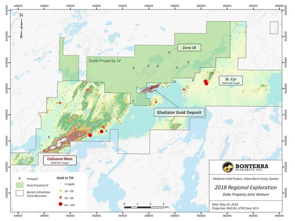 Duke Property Joint Venture 2018 Regional Exploration (CNW Group/Bonterra Resources Inc.)