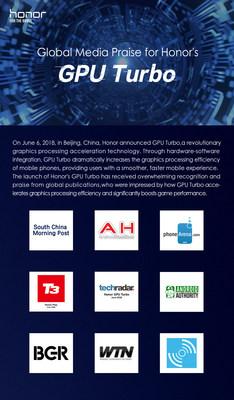 Elogios da mídia para a GPU Turbo (PRNewsfoto/Honor)