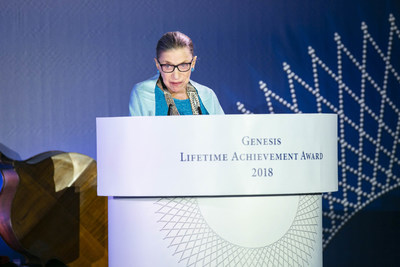 Justice Ginsburg addressing the audience during the award ceremony
