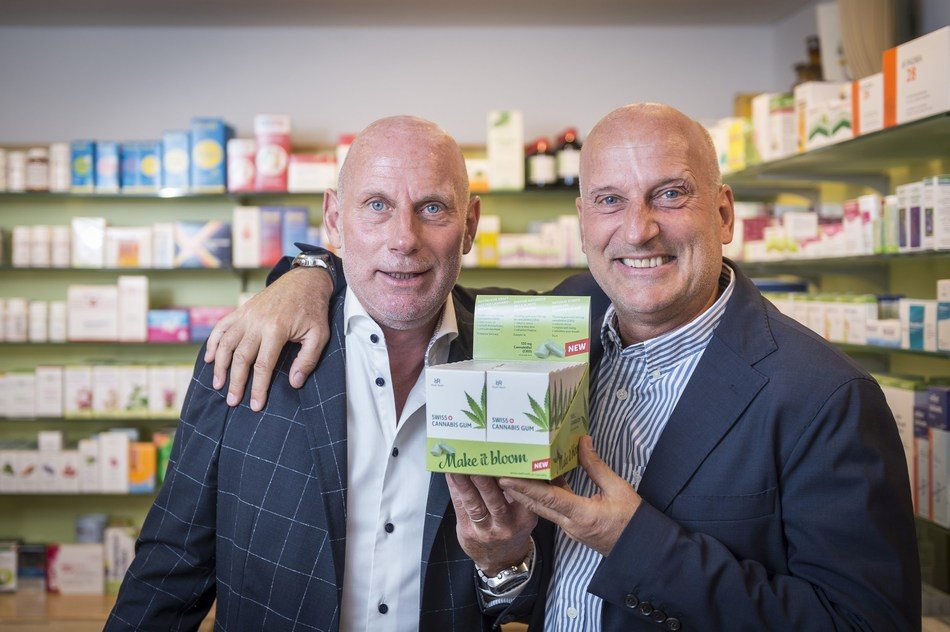 Roelli brothers (Kristofer and Andreas Roelli) with Swiss Cannabis Gum. (PRNewsfoto/roelli roelli confectionery ag)