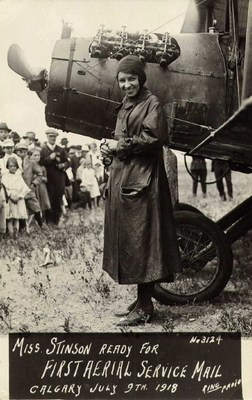 Aviatrice Katherine Stinson gets ready to take flight on July 9, 1918 (CNW Group/WESTJET, an Alberta Partnership)
