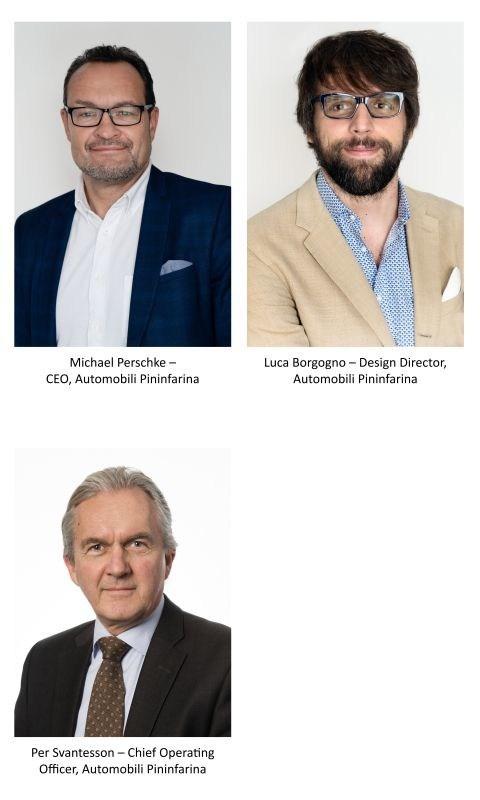 Board of Directors: Michael Perschke – CEO, Automobili Pininfarina, Luca Borgogno – Design Director, Automobili Pininfarina, Per Svantesson – Chief Operating Officer, Automobili Pininfarina (PRNewsfoto/Automobili Pininfarina)