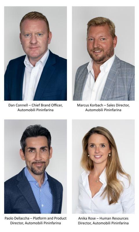 Board of Directors: Dan Connell – Chief Brand Officer, Automobili Pininfarina, Marcus Korbach – Sales Director, Automobili Pininfarina, Paolo Dellaccha – Platform and Product Director, Automobili Pininfarina, Anika Rose – Human Resources Director, Automobili Pininfarina. (PRNewsfoto/Automobili Pininfarina)