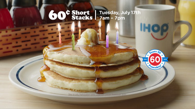 IHOP is celebrating its 60th anniversary with 60 cent pancakes on Tuesday, July 17 from 7am - 7pm at participating restaurants nationwide