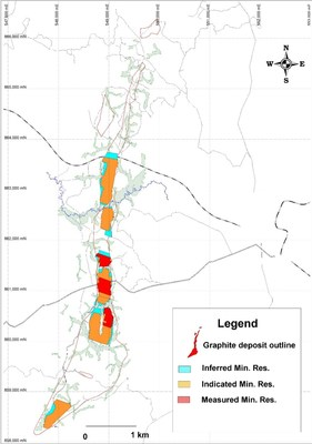 Figure 1 Map of the Deposit With Resource Classification (CNW Group/SRG Graphite)