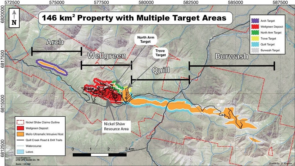 Figure 3 – Exploration Targets Within Nickel Shäw Land Package (CNW Group/Nickel Creek Platinum Corp.)