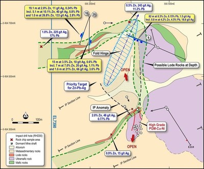 Figure 5: Geology plan map of the Dora East Prospect (CNW Group/Bluebird Battery Metals)