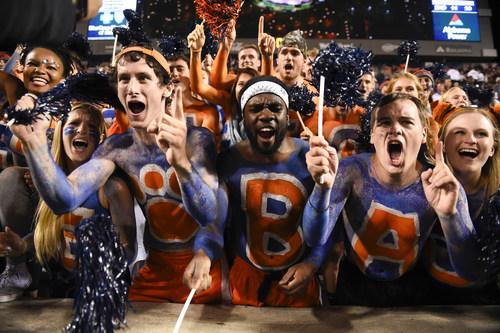 Passionate Auburn University students cheer on Auburn Tiger Football. Photo credit: Auburn University Athletics.