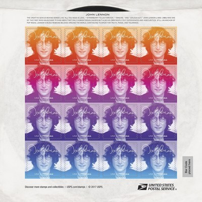The John Lennon Forever stamp pane is designed to resemble a vintage 45 rpm record sleeve.