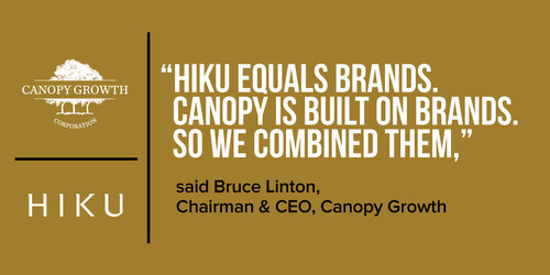 Canopy Growth to Acquire Hiku Brands to Strengthen Retail and Brand Portfolio (CNW Group/Canopy Growth Corporation)