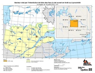 Secteur visé par l'interdiction de faire des feux à ciel ouvert en forêt ou à proximité (Groupe CNW/Ministère des Forêts, de la Faune et des Parcs)