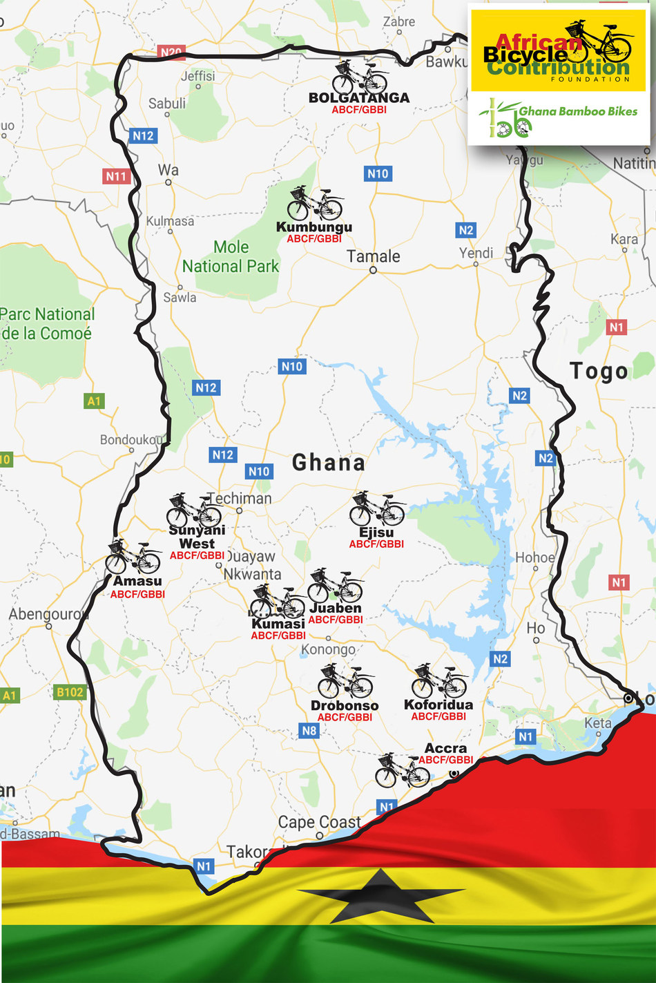 Map of Ghana with ABCF/GBBI icons marking bamboo bike distribution sites (July 10, 2018).