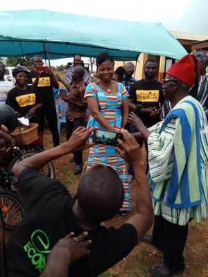 Headmistress of the Girls Model School speaking at the ABCF/GBBI bamboo bike distribution event.