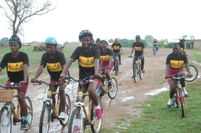 A group of the 40 ABCF/GBBI bamboo bike recipients at Nabdam District's Girls Model School, shortly after receiving their new ABCF/GBBI bamboo bicycles.
