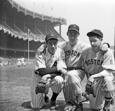 Two of the brothers DiMaggio, Joe, left, of the New York Yankees, and Dominic, right, of the Boston Red Sox, get together with Boston's star outfielder Ted Williams here, before meeting at Yankee Stadium in the New Yorker's first home game of 1942.