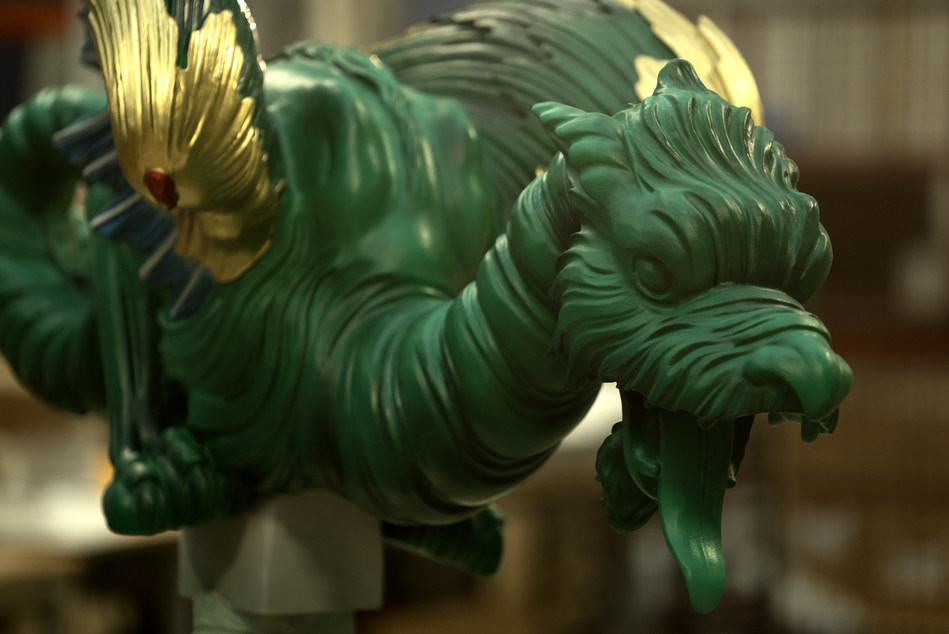 3D Systems has two dedicated artisans painting each of the dragons. Final decorative painting takes about 1.5 days per dragon. The 3D printed dragons weigh between 7-15kg, depending on size. The smallest dragons are 1150mm in length and the largest are 1850mm in length.