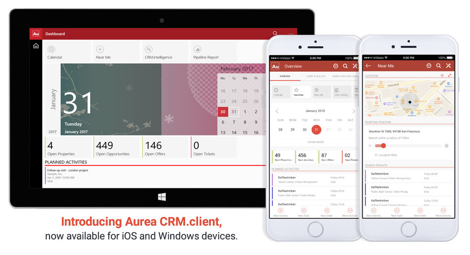 The new Aurea CRM.client helps sales, marketing and service teams seamlessly access essential CRM functionality on the platforms and devices they use most, making it easier to get work done on-the-go through one powerful app.