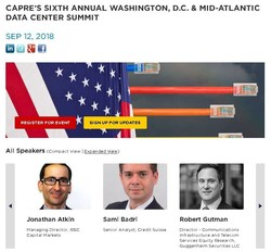 Impact of Blockchain, AI, Hyperscale Development & More: Leading data center developers, investors, capital sources, engineers and end-users are making plans to attend CAPRE's 6th Annual Washington, D.C. & Mid-Atlantic Data Center Summit on September 12. More than 2,000 data center real estate and technology infrastructure executives have attended this event. Will you attend this important industry event? Exhibitor and sponsorship opportunities are available.