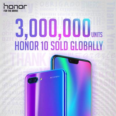 Honor 10 vendeu 3 milhões de unidades no mundo inteiro (PRNewsfoto/Honor)