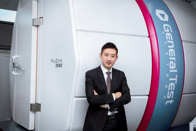 James Li, General Manager for Smart Antenna�s operations in China, at the Suzhou testing facility (cold chamber in the background)