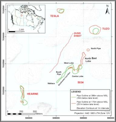 Figure 1: Location of the 5034, Hearne, Tuzo, Tesla and North Pipe kimberlite bodies. (CNW Group/Mountain Province Diamonds Inc.)