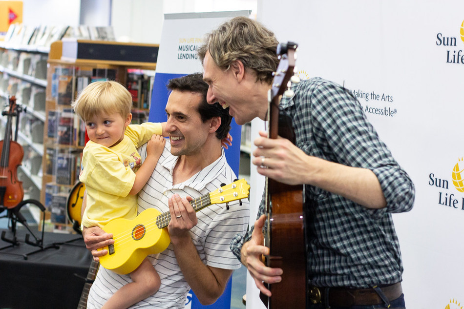 The Sun Life Financial Musical Instrument Lending Library launch at the Halifax Public Libraries with local musician Joel Plaskett. (CNW Group/Sun Life Financial Canada)
