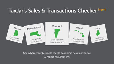 TaxJar's Sales and Transactions Checker shows online sellers where they are required to collect sales tax in minutes, for free