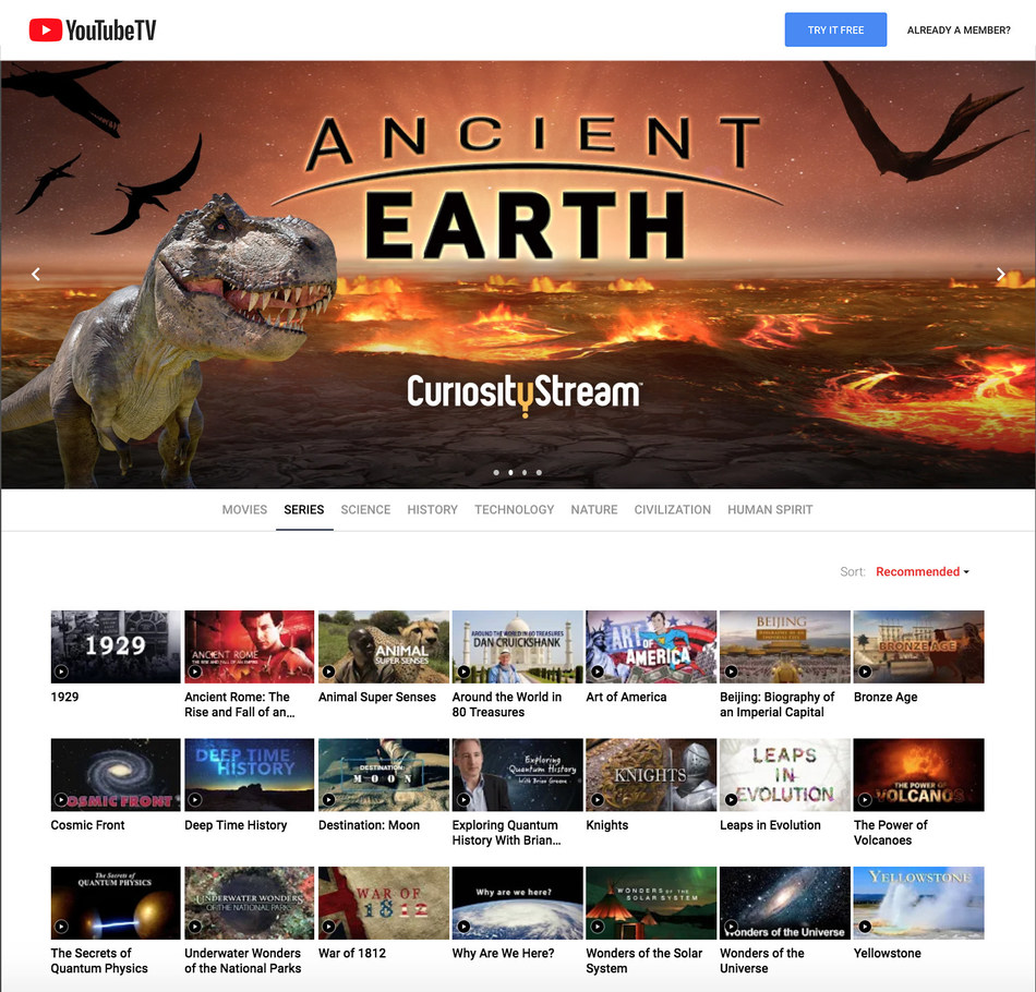 CuriosityStream joins YouTube TV's lineup of premium add-on channels, giving subscribers access to award-winning, original documentaries