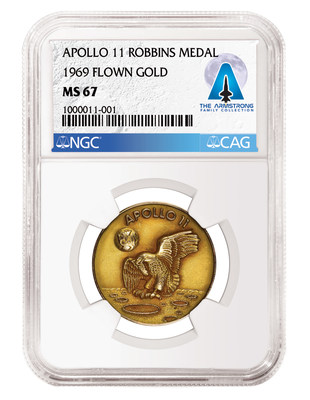 Apollo 11*-*Flown Gold Robbins Medal, graded NGC MS 67 and certified by CAG as part of the Armstrong Family Collection.
